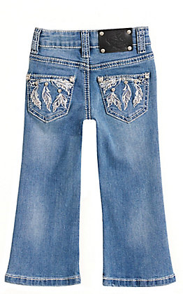 Wired Heart Girls' Toddlers' Medium Wash Feather Arrow Embroidery Boot Cut Jeans