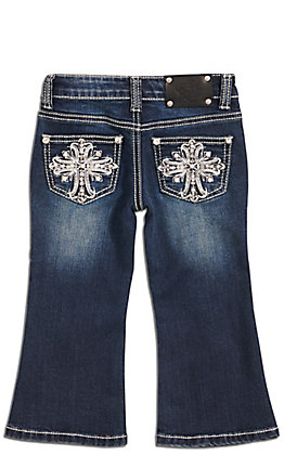 Wired Heart Toddlers' Dark Wash Fleur Cross Embroidery Boot Cut Jeans (2T - 4T)