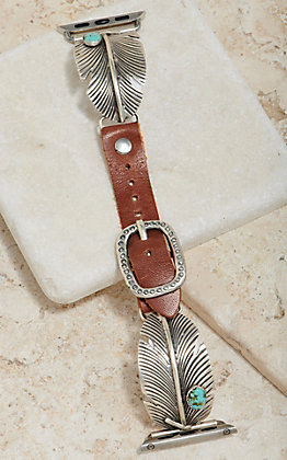 Wild Horse Watchin' Bands Silver Feather With Turquoise Concho 38mm Watch Band