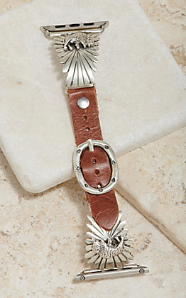 Wild Horse Watchin' Bands Silver Buffalo Sunburst Concho 38mm Watch Band