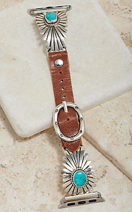 Wild Horse Watchin' Bands Silver Sunburst With Turquoise Concho 38mm Watch Band