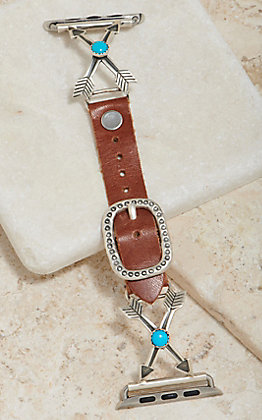 Wild Horse Watchin' Bands Silver Crossing Arrows With Turquoise Concho 38mm Watch Band