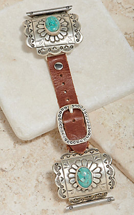 Wild Horse Watchin' Bands Silver Concho With Turquoise 42mm Watch Band
