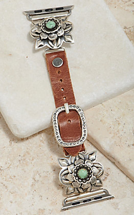 Wild Horse Watchin' Bands Silver Rose With Turquoise Concho 42mm Watch Band