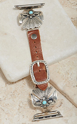 Wild Horse Watchin' Bands Silver Thunderbird With Turquoise Concho 42mm Watch Band