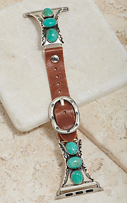 Wild Horse Watchin' Bands Silver Three Turquoise Stone Concho 42mm Watch Band