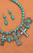 Turquoise with Silver Crosses Set