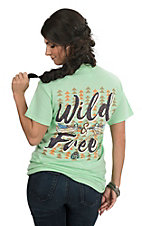 Girlie Girl Originals Women's Mint Green Wild and Free Screen Print Short Sleeve T-Shirt
