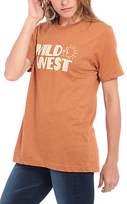 Women's Rust Orange Wild West Short Sleeve Graphic T-Shirt