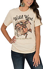 XOXO Art & Co. Women's Soft Cream Wild West Graphic T-Shirt