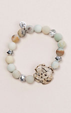 Laminin Willow Matte Amazonite Beaded with Stone Bracelet