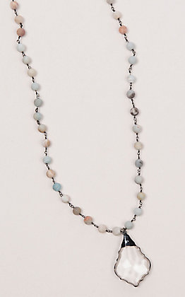 Laminin Willow Amazonite Beaded Chain with Marque Necklace