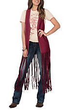 Crazy Train Women's Wine Faux Sueded Studded Fringe Duster Vest