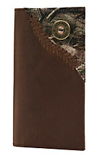 Justin Original Workboots Distressed Tan with Camo Corner Overlay Rodeo Wallet/Checkbook Cover WJW012
