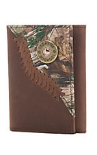 Justin Original Workboots Leather Trifold Wallet with Camo Overlay