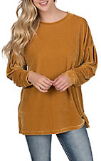 Wishlist Women's Mustard Velvet Long Sleeve Top