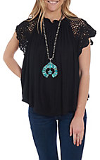 Wishlist Women's Black Crochet Shoulder Casual Knit Top