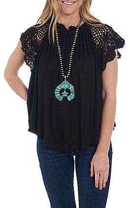 Wishlist Women's Black Crochet Shoulder Casual Knit Top