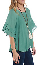 Wishlist Women's Light Green Ruffle Sleeve Fashion Top