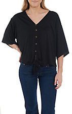Wishlist Women's Black V-Neck Tie Front Fashion Top