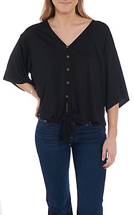 Wishlist Women's Black V-Neck Tie Front Fashion Top