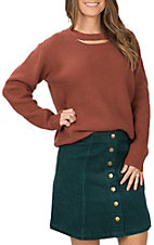 Wishlist Women's Rust with Neck Cutout Long Sleeve Sweater Fashion Top