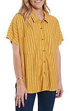 Wishlist Women's Mustard Stripe Casual Fashion Top