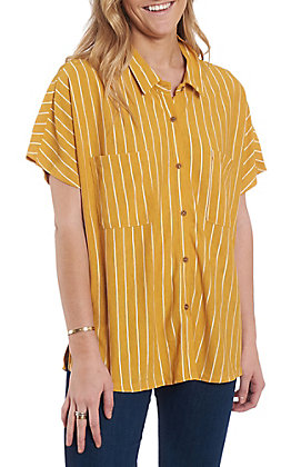 Wishlist Women's Mustard Stripe Casual Fashion Top