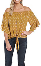 Wishlist Women's Mustard Tie Front Fashion Top