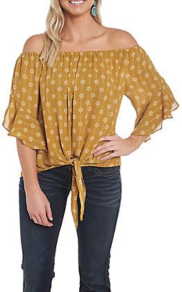 Wishlist Women's Mustard Tie Front Fashion Top