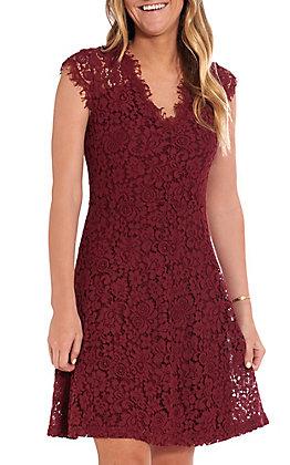 Wishlist Women's Burgundy Lace Short Sleeve Dress
