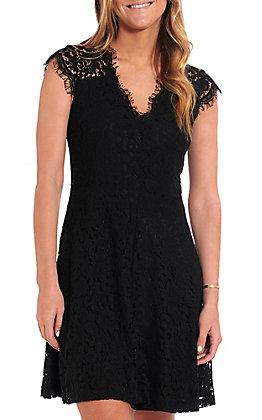 Wishlist Women's Black Lace Short Sleeve Dress