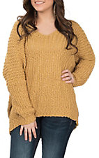 Wishlist Women's Mustard Popcorn V-Neck Sweater
