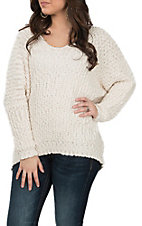 Wishlist Women's Natural Popcorn V-Neck Sweater