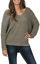 Wishlist Women's Olive Popcorn V-Neck Sweater