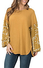Wishlist Women's Mustard Print Thermal Fashion Top
