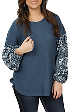 Wishlist Women's Teal Print Thermal Fashion Top