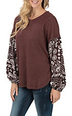 Wishlist Women's Wine Print Thermal Fashion Top