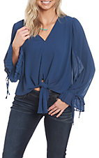 Wishlist Women's Navy Tie Front V-Neck Fashion Top