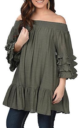 Wishlist Women's Olive Ruffle Sleeve Off The Shoulder Fashion Top