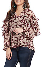 Wishlist Women's Burgundy Floral Tie Neck Fashion Top
