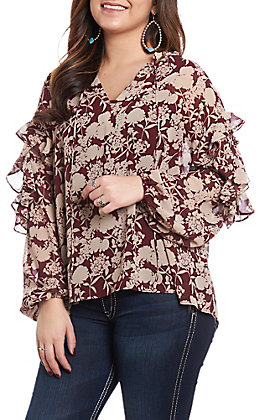 Wishlist Women's Burgundy Floral Tie Neck Fashion Top