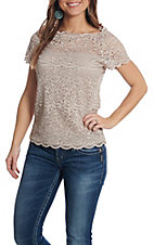 Wishlist Women's Champagne Lace Short Sleeve Fashion Top