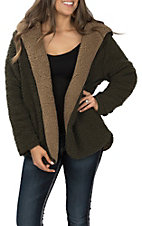 Wishlist Women's Reversible Olive and Mocha Hooded Sherpa Jacket