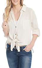Wishlist Apparel Women's Ivory Linen Tie Front Fashion Top