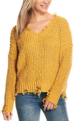 Wishlist Women's Mustard Frayed Long Sleeve Sweater