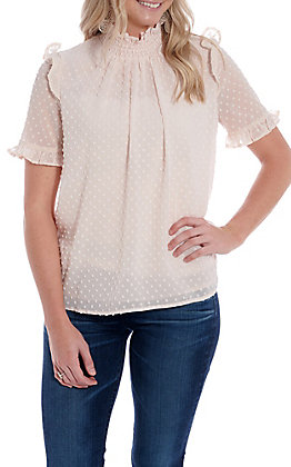 Wishlist Women's Blush Dotted Mock Neck Short Sleeve Fashion Top