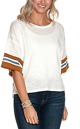 Wishlist Women's Ivory with Stripes Detail on Short Sleeves Casual Knit Tee