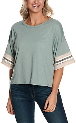 Wishlist Women's Sage Green with Stripes Detail on Short Sleeves Casual Knit Tee