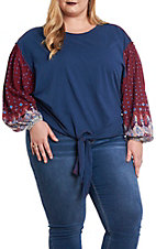 Umgee Women's Navy Blue Floral Print Puff Sleeves Casual Knit Top
